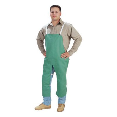 "John Tillman & Co X 48"" Green 12 Ounce Westex® Proban® FR7A® Cotton Flame Retardant Apron With Waist Tie And Snap Leg Straps"