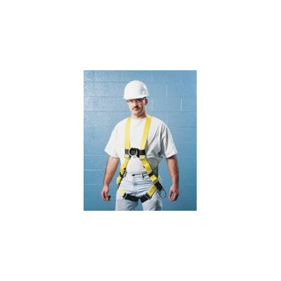 Miller Fall Protection Size DuraLite Non-Stretch Harness With Tongue Buckle Leg Straps And Back, Front And Side D-Rings