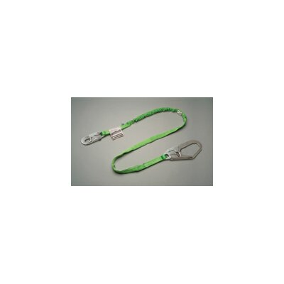 "Miller Fall Protection Green Manyard HP® Shock-Absorbing Web Lanyard With Locking Snap Hook And 2 1/2"" Locking Rebar Hook"
