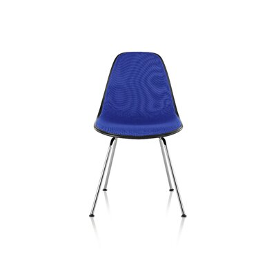 Eames Molded Plastic Upholstered Side Chair with 4-Leg Base