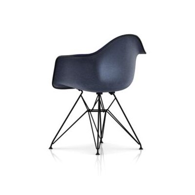 Eames Molded Plastic Upholstered Arm Chair with Wire Base