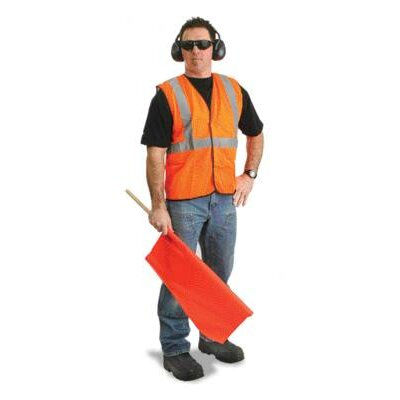 "Radnor Orange Polyester Mesh Economy Class 2 Vest With Front Hook And Loop Closure, 2"" Beaded Tape And 1 Outside Pocket"
