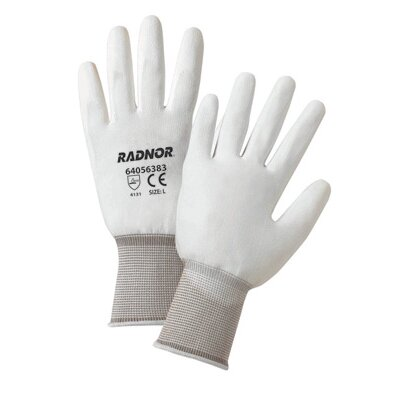 Radnor White Premium Polyurethane Palm Coated Work Gloves With 15 Gauge Nylon Liner