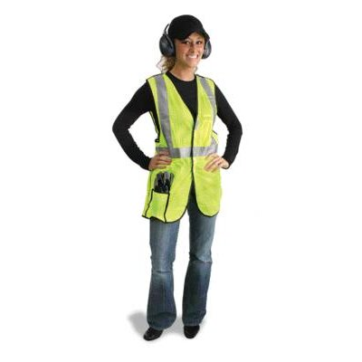 "Radnor Yellow Polyester Breakaway Vest With Front, Top And Side Hook And Loop Closures, 2"" 3M™ Scotchlite™ Reflective Stripes, 1 Outside Pocket And 1 Inside Pocket"