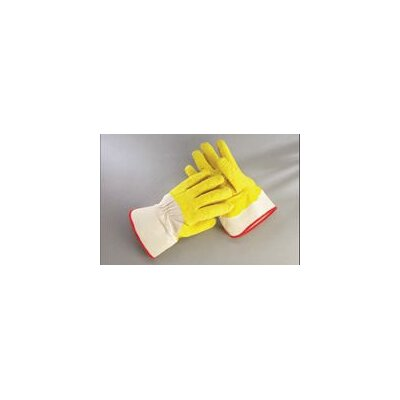 Radnor Yellow/White Economy Rubber Palm Coating Wrinkle Finish Canvas Work Glove With Safety Cuff