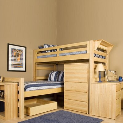 University Loft Graduate Series Extra Long Senior Crew Twin L-Shaped Bunk Bed with Built-In Ladder