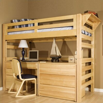 University Loft Graduate Series Extra Twin over Twin Long Bunk Bed with Built-In Ladder