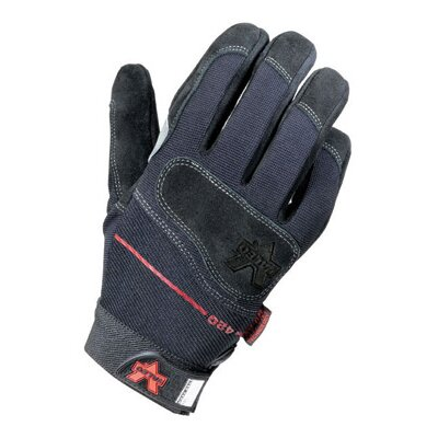 Black Full Finger Mechanics Split Leather Anti-Vibe Gloves With AV GEL™ Padded Palm, ...