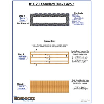 "DewDocks - USA 96"" x 312"" Standard Dock Layout"