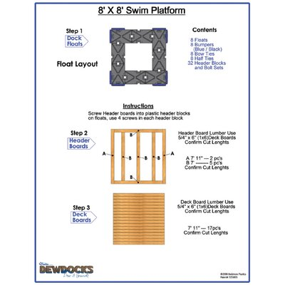"DewDocks - USA 96"" x 96"" Standard Dock Layout"