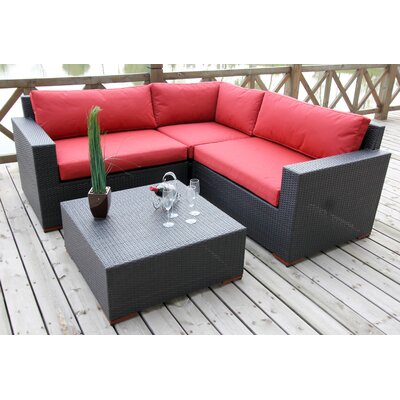 Pasadina Conversation Sectional 4 Piece Deep Seating Group with Cushions