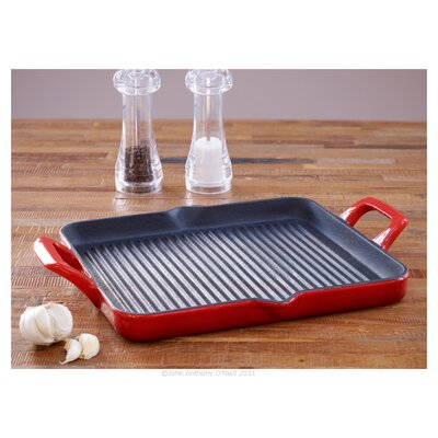La Cuisine Cookware Cast Iron Rectangular Grill Pan in Red
