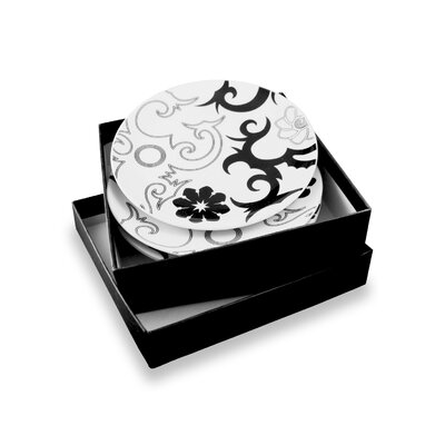 Ink Dish Tribal Lines 4 Side Plates Gift Set