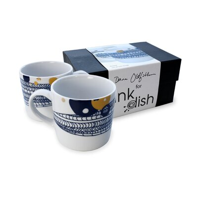 Ink Dish Basket 2 Mug Gift Set