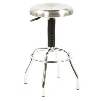 New Spec Inc Workstool 01 Adjustable Work Stool with Swivel Seat in Chrome