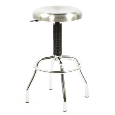 New Spec Workstool 01 Adjustable Work Stool with Swivel Seat in Chrome