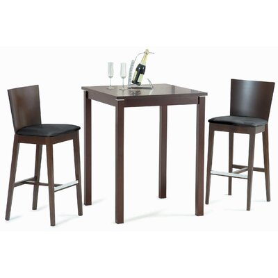 New Spec Cafe-411 Square Bar Table Set in Walnut