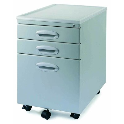 New Spec Inc MP-01 Mobile File Cabinet with Two Drawers in Light Grey
