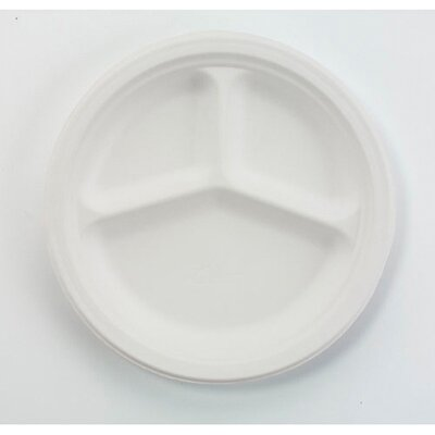 "Chinet 9.25"" Round Classic Paper Plates with 3 Compartments in White"
