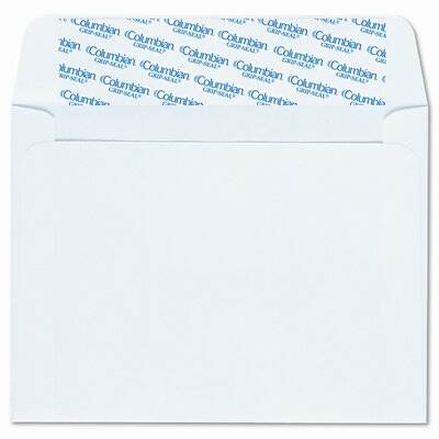 Columbian Envelope Invitation Envelopes with Grip-Seal, 4-3/8x5-3/4, White, 100/box