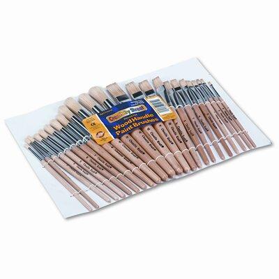Creativity Street® Natural Bristle Preschool Brushes, Hardwood Handles, Assorted Sizes, 24 per Set