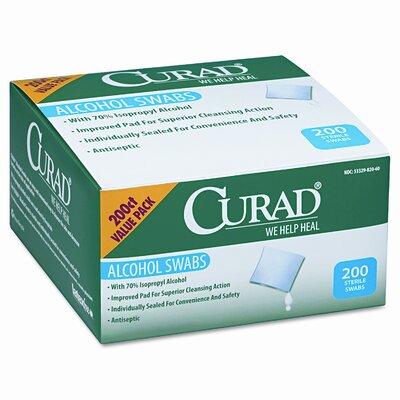 Curad Alcohol Swabs, 1 x 1, 200 per Box