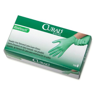 Curad Aloetouch Powder-Free Latex Exam Gloves, Large, 100/Box