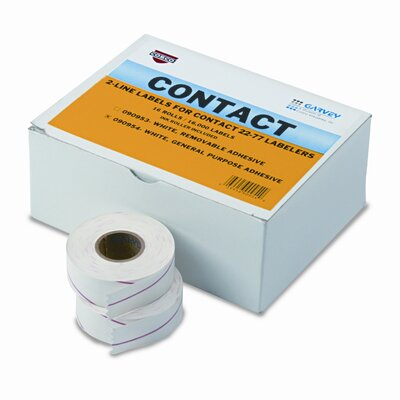 Garvey Two-Line Pricemarker Labels, 5/8 x 13/16, White, 1000/Roll, 16 Rolls per Box