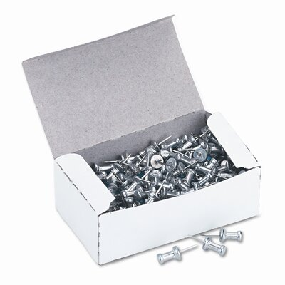 "Gem Office Products, LLC. Aluminum Head Push Pins, Steel 3/8"" Point, Silver, 100 per Box"