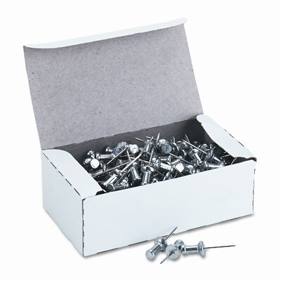 "Gem Office Products, LLC. Aluminum Head Push Pins, Steel 5/8"" Point, Silver, 100 per Box"
