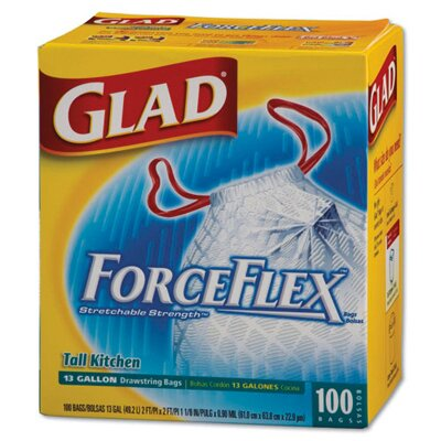 Glad Drawstring force flex Tall Kitchen Bag in White