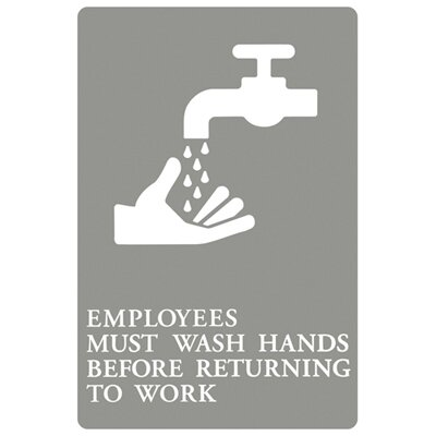 "Headline Signs® ""Employees Must Wash Hands..."" Tactile Symbol ADA Sign in Gray and White"