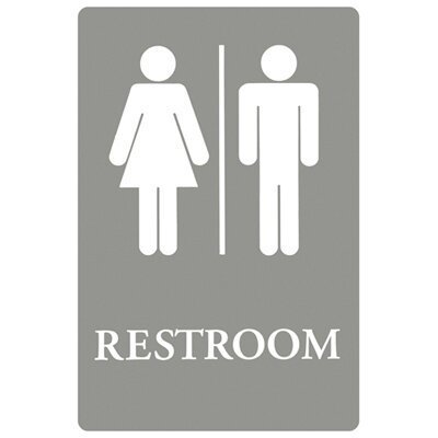 Headline Signs® Restroom Symbol Tactile Graphic Men / Women ADA Sign in Gray and White
