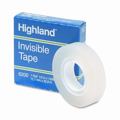 "3M Invisible Permanent Mending Tape, 1/2"" x 36 Yards, 1"" Core, Clear"