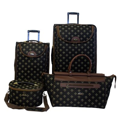 American Flyer Fleur De Lis 4 Piece Luggage Set