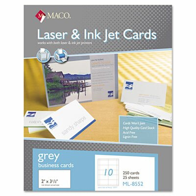 Maco Tag & Label Microperforated Business Cards, 2 x 3 1/2, Gray, 250/Box