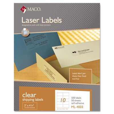 Maco Tag & Label Matte Clear Laser Labels, 2 x 4 1/4, 500/Box