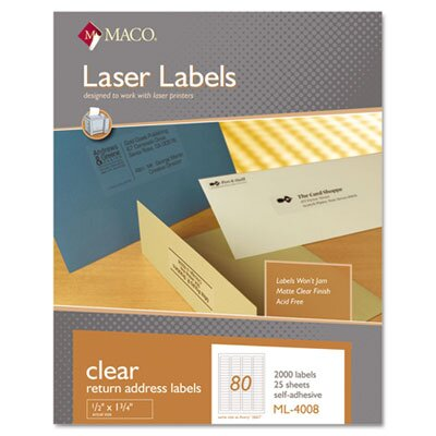 Maco Tag & Label Matte Clear Laser Labels, 1/2 x 1 3/4, 2000/Box