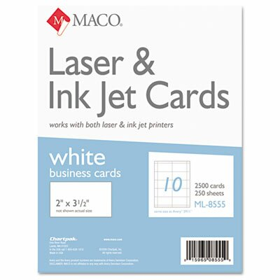 Maco Tag & Label Microperforated Business Cards, 2500/Box