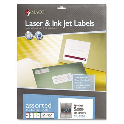 Maco Tag & Label File Folder Labels, 2/3 x 3 7/16, Assorted, 750/Box