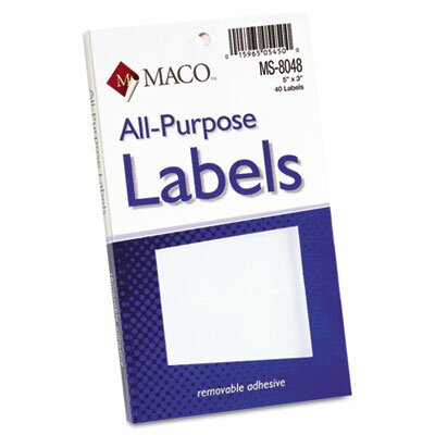 Maco Tag & Label Multipurpose Self-Adhesive Removable Labels, 40/Pack