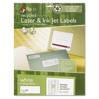 Maco Tag & Label Recycled Laser and InkJet Labels, 1 x 2 5/8, White, 750/Box