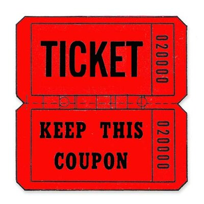 Maco Tag & Label Ticket Roll, Double Coupon, 2000/RL, Red