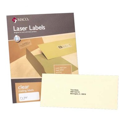 "Maco Tag & Label Mailing Labels, Laser, Full Page, 8-1/2""x11"", 50 per Box, Clear"