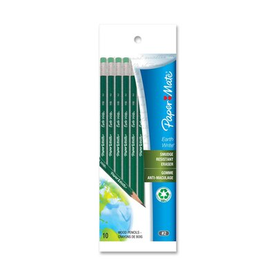 Paper Mate Wood Pencils, HB, Smudge Resistant Eraser, 10 per Pack, Green