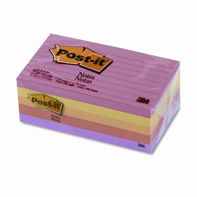 Post-it® Original Note Pad, 3 X 5, Lined, 5 Pack