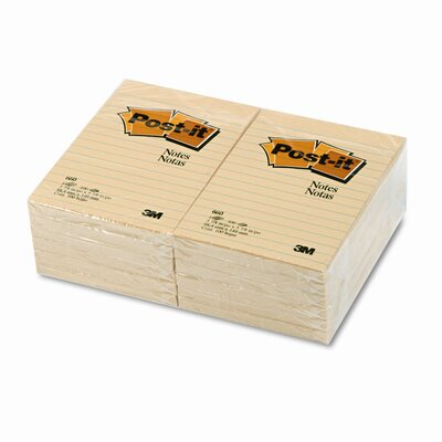 Post-it® Original Notes, 4 x 6, Canary Yellow, 12 100-Sheet Pads/Pck