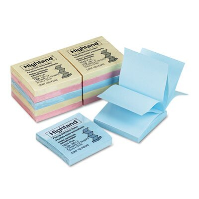 Post-it® Pop Up Memo Pad, 3 x 3, Assorted Pastel, 100 Sheets