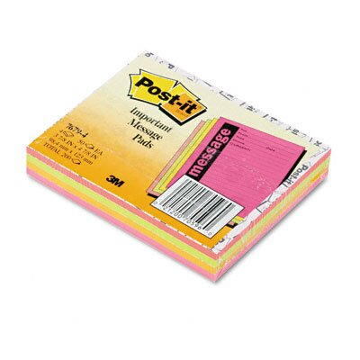 Post-it® Super Sticky Message Pads, 3-7/8 x 4-7/8, Neon, 4 50-Sheet Pads/Pack