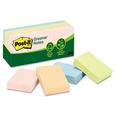 Post-it® Greener Recycled Note Pad, 12 Pack